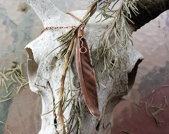 Real Copper Feather Electroformed Pendant