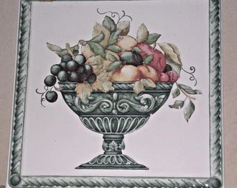 Vintage Double Fired Handcraft Italian Fruit Bowl Design Tile 30x30 - Handcrafted Tile. Ceramic Tile. Double Fired Tile.