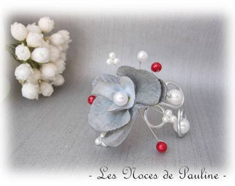 Gray, white and Red Orchid Justine v2 c wedding bracelet