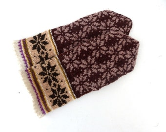 Mittens, hand knitted brown  wool mittens, fair isle mitts, knit latvian mittens, knitting winters gloves, wool arm warmers, mitts of latvia