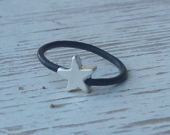Black leather and silver  star ring- stacking ring with a small Gold or Silver plated star , minimalist jewelry , boho leather ring