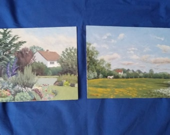 Pair of Original Oil Paintings Field and Cottage
