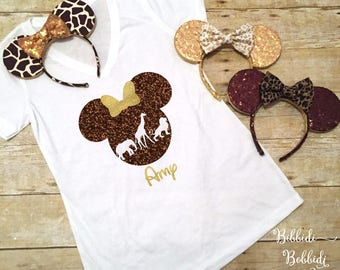 Animal Kingdom Silhouette Lion Giraffe Elephant Minnie Mickey Mouse Disney Shirt, Tank, Baseball Tee Men's Boy's Ladies' Youth Child Girls