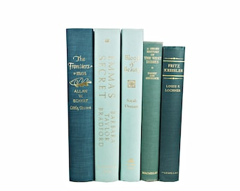 Turquoise Teal Green  Decorative Books, BLue Book Set, Wedding Centerpiece, Instant Library, Old Book Decoration, BOok Collection Home decor