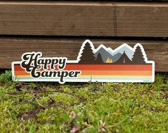 HAPPY CAMPER Bumper Sticker : Happy Camper Bumper Sticker 70s Aesthetic Car Decal Hippie Outdoorsy Stickers Camplife Van Decals Camper Van