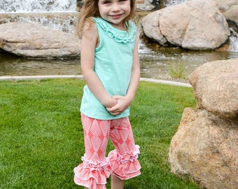 Chloe's Ruffle Leggings, Capris & Shorties. PDF sewing pattern for toddler girl sizes 2t - 12.