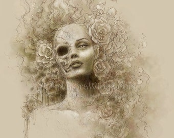 Free Shipping to US - Dark and Macabre Skull Face Beauty Fantasy Art - Oblivion - 5x7 Signed Print - by Mitzi Sato-Wiuff
