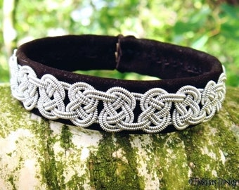 Leather Viking Bracelet Cuff GRENDEL Sami Tennarmband in Brown Sanded Lambskin, Handcrafted Nordic Jewelry