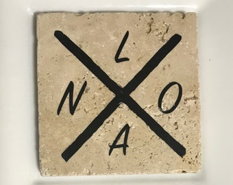 Tile Coaster with Black 'NOLA' X Design