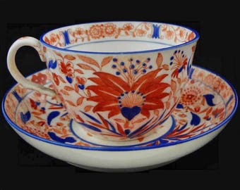 Imari Style Cup and Saucer Set Rust Blue White