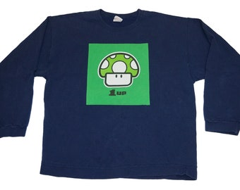 Mario 1UP Crewneck (Adult M/L)- Upcycled by Rethreaded