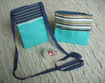 All man purse and clutch faux leatherette fabric and blue striped