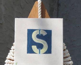"Signal Flag ""S"" nautical print"