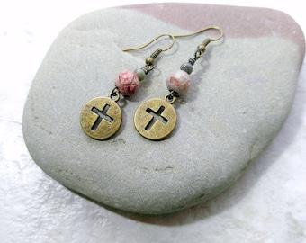 Jasper earrings, Cross earrings, cross jewelry, bohemian style earrings, gifts for women, anniversary gift for her, womens fashion, daughter