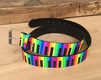 Leather Belt Colorful Piano Belt Music