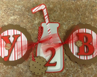 Red and White Milk and Cookies Birthday Banner