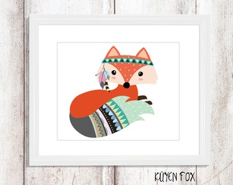 Fox wall art - Fox nursery art - kids wall art - Nursery Decor - tribal fox - tribal nursery art - tribal wall decor - tribal fox wall art