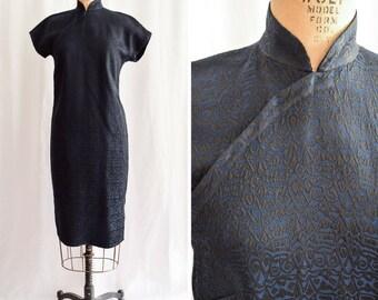 "1960s Cheongsam | Maha | Vintage 60's Dress Loose Fitting Qipao Blue and Black Brocade Tapestry Mandarin Collar Tapered Party Dress Bust 36"""