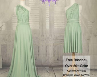 Bridesmaid Dress  Sage green infinity Dress Convertible Formal,wrap dress party dress Evening dress -C43# B43#