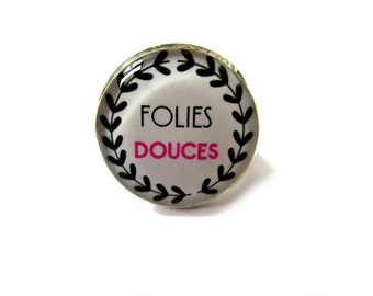 Quote ring, Folies Douces, SWEET CRAZINESS, Sparkle RING, quote jewelry