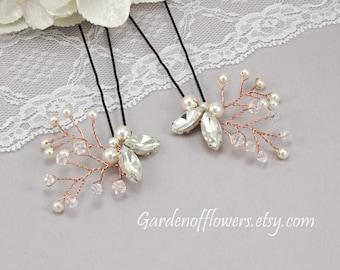 Wedding hair accessories Bridal hair pins Wedding hairpiece Bridal hair accessories Bridesmaids bobby pins Swarovski pearl Rhinestone pins