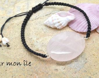 Bracelet stone rose quartz semi precious black nylon silver metal