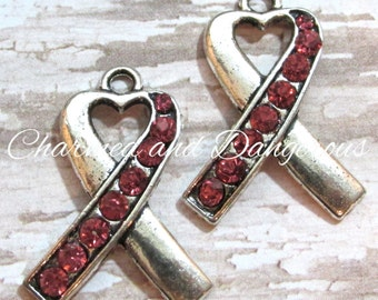 10 Pink Rhinestone Ribbon charms (CM26)