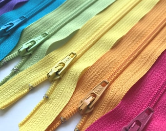 YKK Zippers- 6pcs Bright Colors- Available in 14 and 22 inches