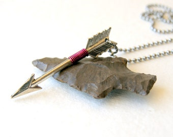 Orchid Wire Wrapped Silver Arrow Necklace