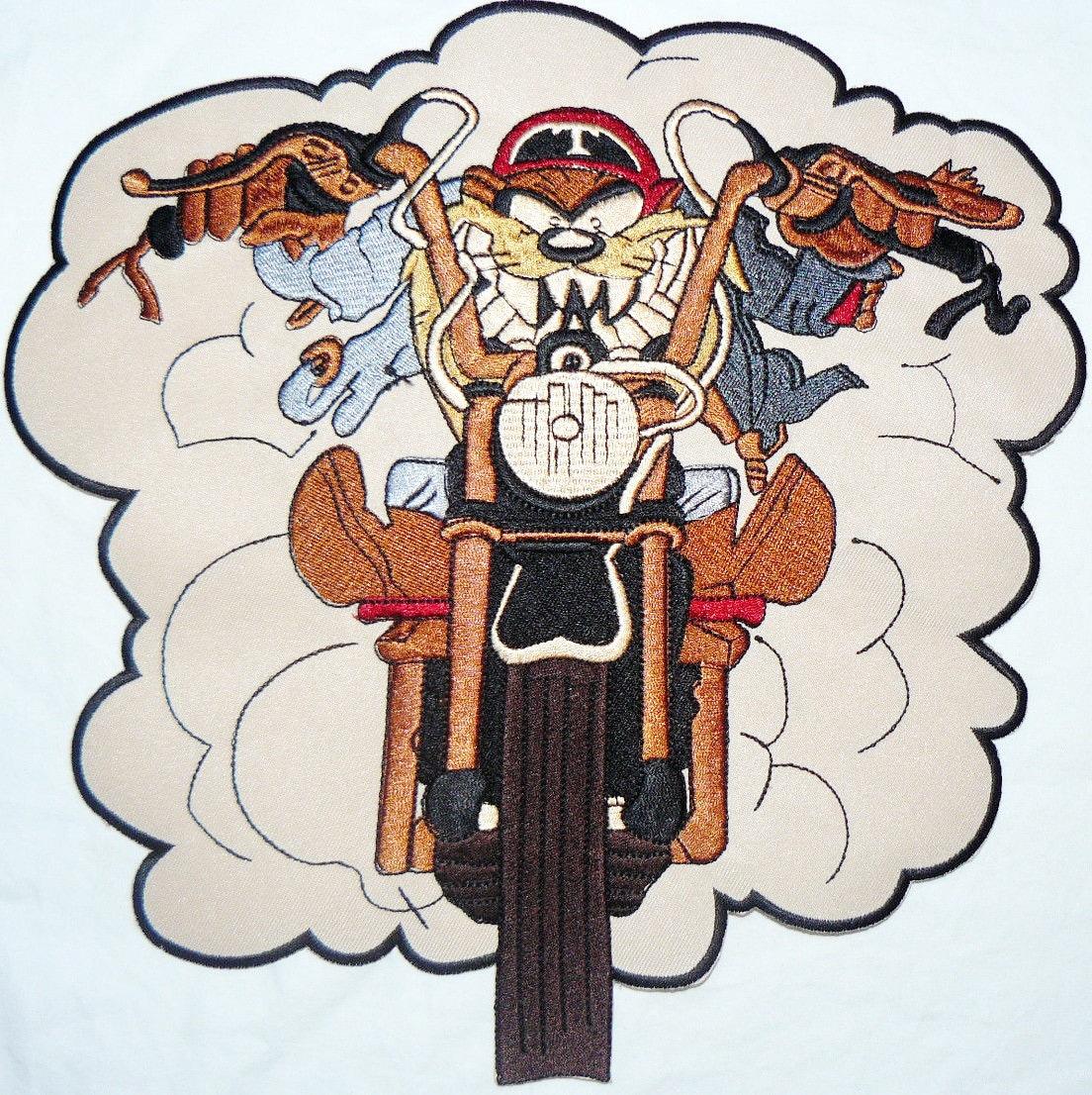 Crazy Rider Taz Demonio Tasmania Motero Grande Xl Bordado # Taz Muebles De Oficina