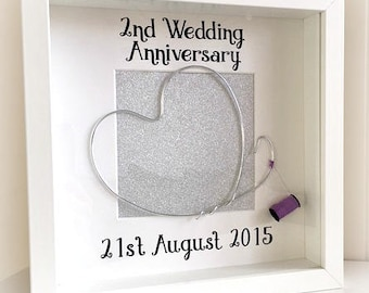 2nd Wedding Anniversary Personalised Frame - Cotton - Wedding Anniversary Gift - Second Anniversary - Gift For Husband - Gift For Wife