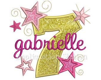 Star Number Seven 7th Birthday Applique Machine Embroidery Design seventh INSTANT DOWNLOAD