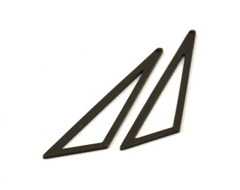 Black Triangle - 4 Oxidized Brass Black Open Triangles, Charms, Findings (59x47x18x0.80mm) Bs 1291 S531