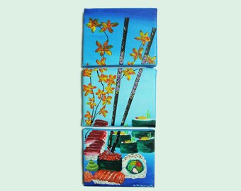 Sushi Triptych Painting - Original Acrylic Art on Gallery Wrapped Canvas