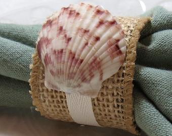 Sea Scallop Napkin Ring - Beach Wedding - seashore - shells