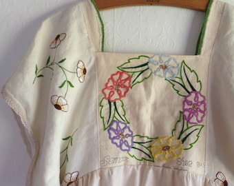 Womens Woodsfolk Cotton Linen Folk Dress in Vintage Cloth with Embroidered bodice White Repurposed Eco