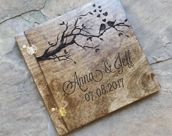 Love birds wedding guest book, wooden guestbook, custom wedding guest book, rustic wedding guestbook, guest book alternative, advice book
