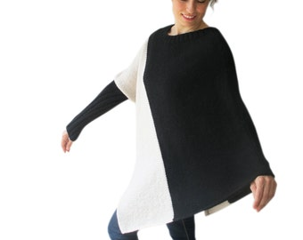 Stylish Two Color Hand Knitted Poncho Plus Size Over Size Tunic by Afra