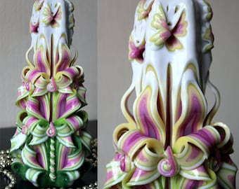 Birthday gift - Gift for women - Unique candles - Carved candle -Butterfly