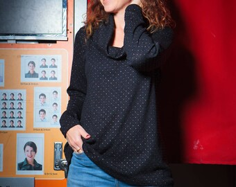 A cozy Black sweater, Winter sweater, Women's sweater, Cowl neck sweater, Casual sweater, Women's oversized sweater, Loose sweater, Dots top
