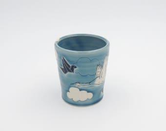 Ceramic Origami Tumbler // clay cup, pottery tumbler, porcelain tumbler, handmade pottery, blue cup, origami crane, bird cup, crane cup