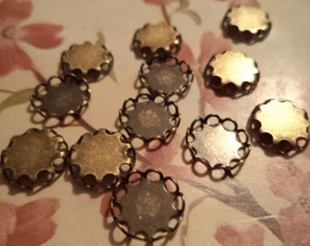 9mm round brass ox closed back lace edge cup settings 12 pcs lot l