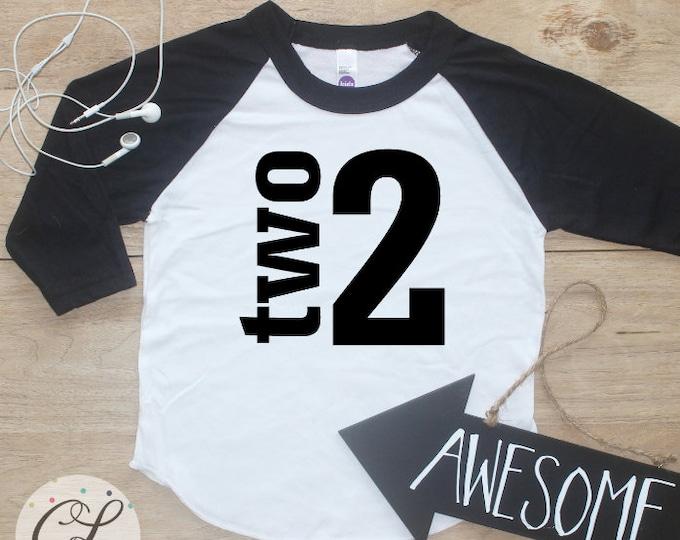Birthday Boy Shirt / Baby Boy Clothes 2 Year Old Outfit Second Birthday TShirt 2nd Birthday Boy Outfit Birthday Party Two Raglan Toddler 019