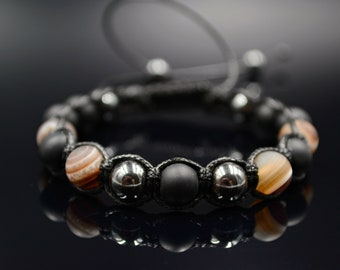 Men's Gemstone Bracelet/Agate Onyx Hematite Bead Bracelet for Men/Beaded Shamballa Bracelet/Macrame Bracelet/Gift for Men/Herren Armband