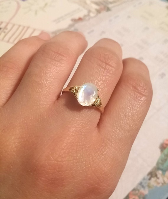 Oval Moonstone Silver Ring Moonstone Engagement Ring Vintage