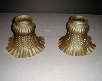 Two Matching Antique Smoky Amber Glass Lamp Shades