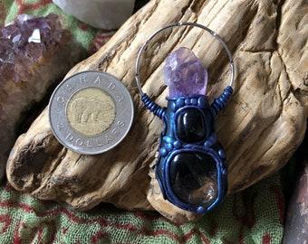 Smokey Quartz, Amethyst and Hematite Clay Goddess Pendant