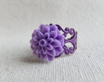 Purple flower ring,Jewelry,Purple dahlia,Victorian Purple,Unique gift