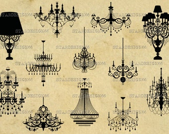 Digital SVG PNG JPG Chandeliers, silhouette, clipart, vector, instant download