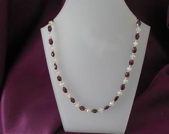 Garnet & Crystal  Rope Necklace